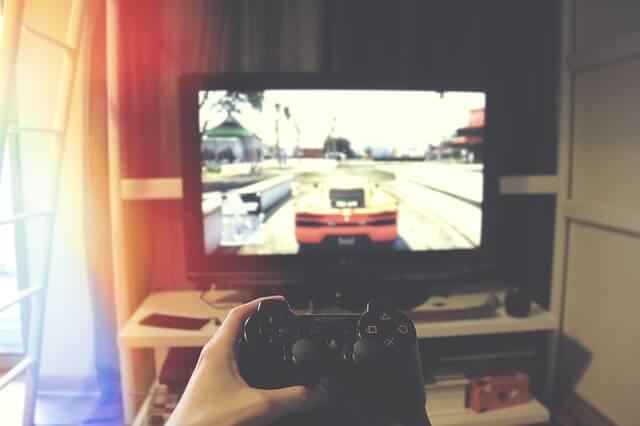レースゲームをしている写真